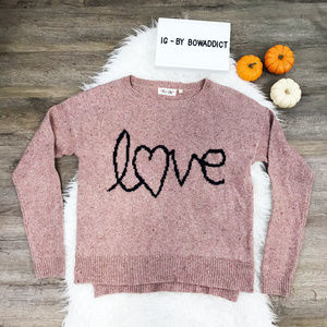 "[Asos] Pink Knit Graphic ""Love"" Sweater"